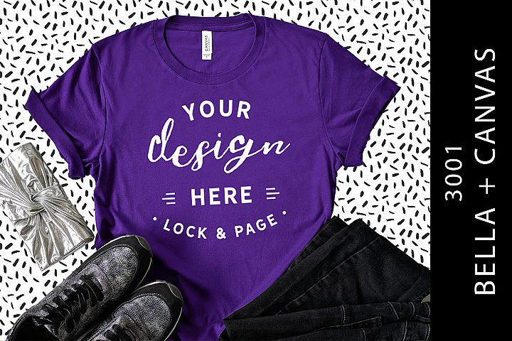 Team Purple Bella Canvas 3001 T-Shirt Mockup Abstract Design