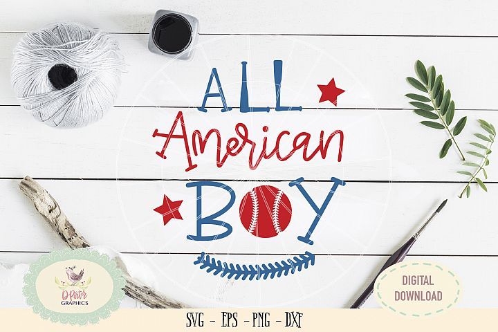 All American boy baseball SVG cut file, 4th of july