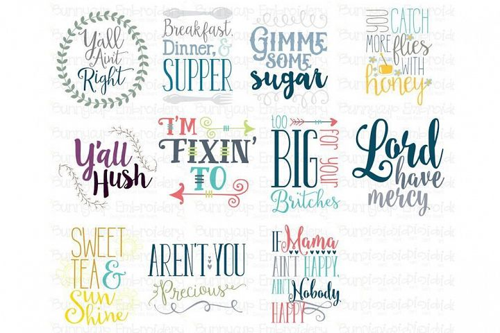 Southern Sentiments Bundle - Clipart and SVG - 11 Designs
