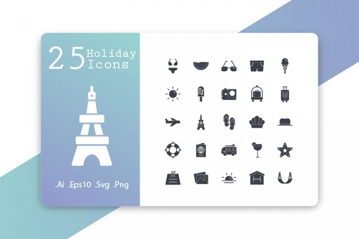 25 Holiday Icons Glyph Design