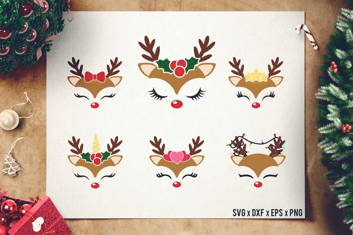 Reindeer Faces SVG - Christmas Reindeer Cut Files - DXF