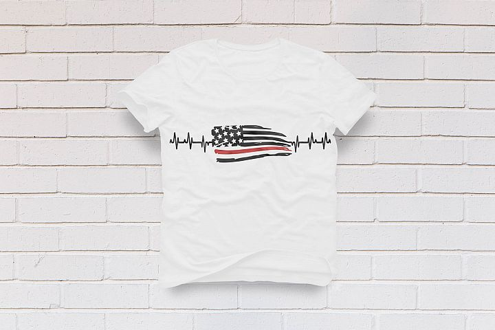 heartbeat firefighter american flag
