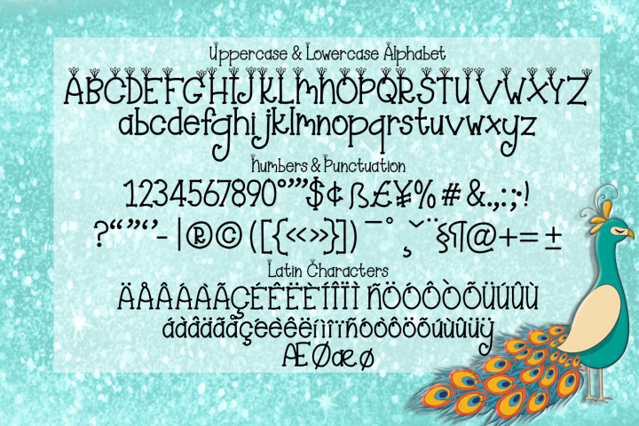 Majestic Peacock - a festive feathered font plus doodles - Free Font of The Week Design0