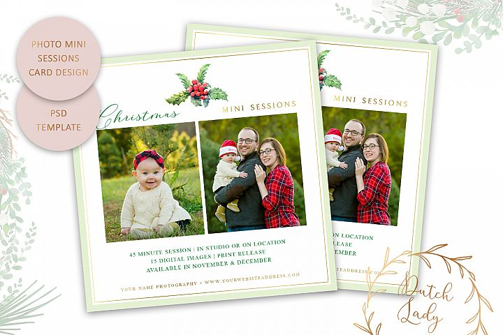 PSD Photo Mini Session Card Christmas Template - #49