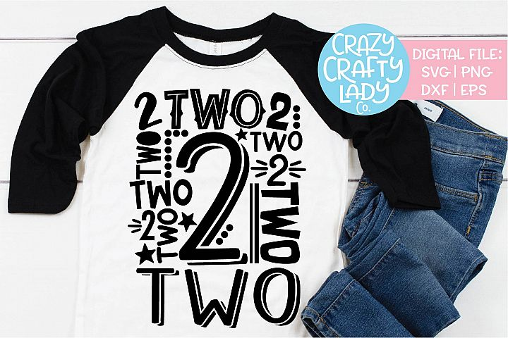 2nd Birthday Collage Typography SVG DXF EPS PNG Cut File