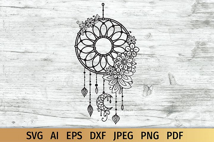 Dream Catcher with Flowers, Boho svg
