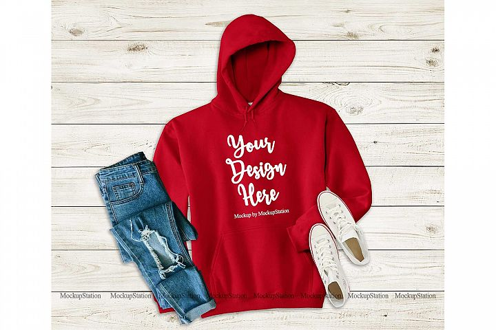 Red Hoodie Mockup, Hooded Sweatshirt Mock Up Flat Lay