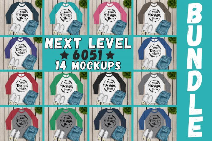 MEGA BUNDLE 14 Mockups Next Level 6051 3/4 Sleeve MultiColor