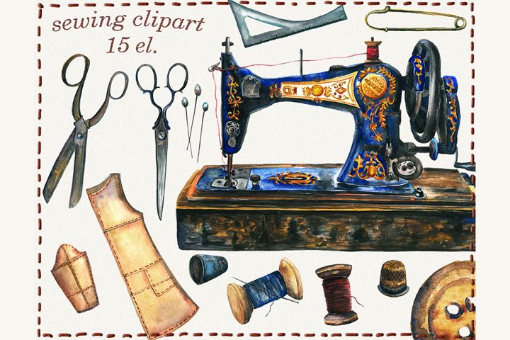 Sewing clipart, sewing machine, watercolor sewing clipart,