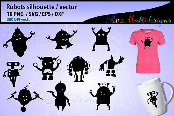 Robot silhouette vector / robot svg graphics