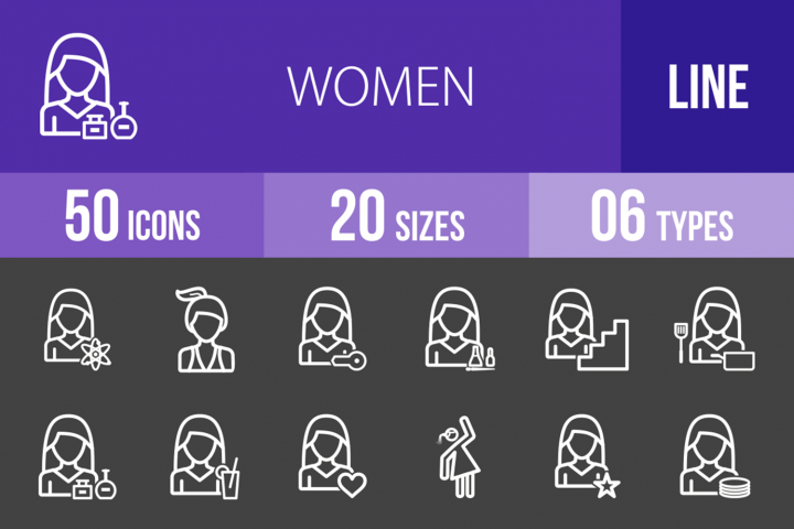 50 Women Line Inverted Icons
