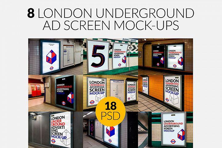 8 London Underground Ad Screen Mock-Ups Bundle