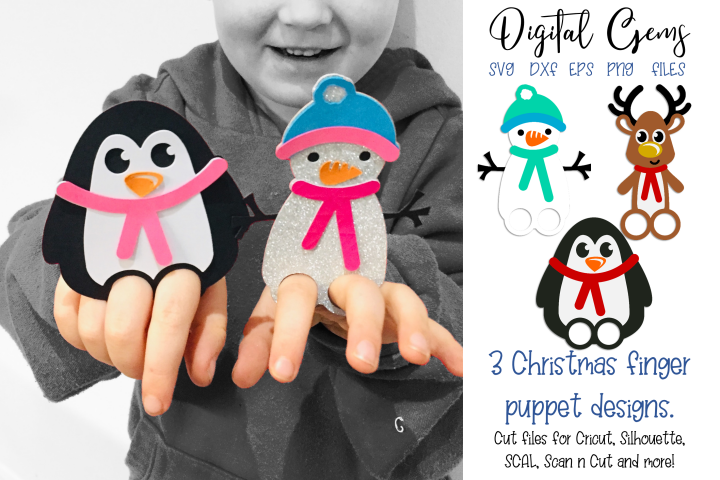 Finger puppet / Bookmarks. Penguin, Reindeer, and Snowman.