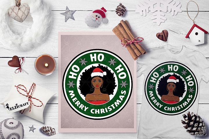 Ho ho ho Merry Christmas, Afro Girl, Santa Hat SVG Cut File