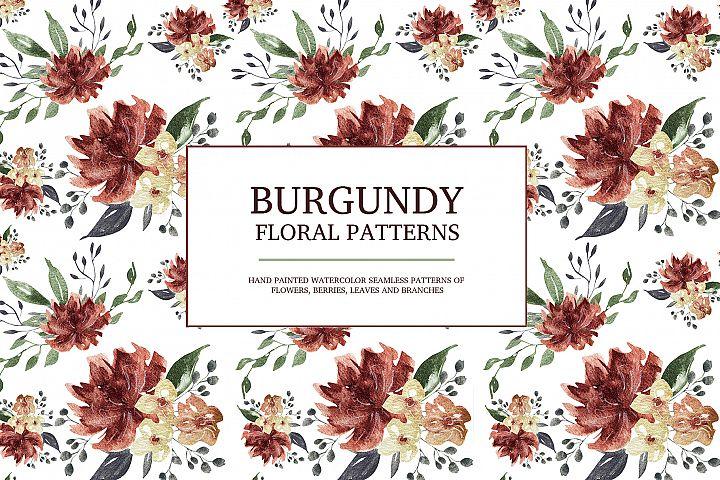 Burgundy floral seamless patterns, Seamless peony pattern