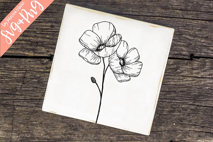 Poppies Handdrawn Flower Line Drawing SVG & PNG