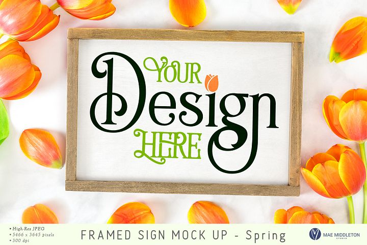 Framed Wood Sign with Tulips - styled photo for Spring