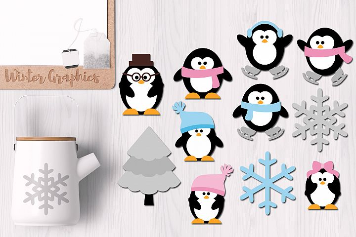 Cute Penguins Family, Winter Graphics