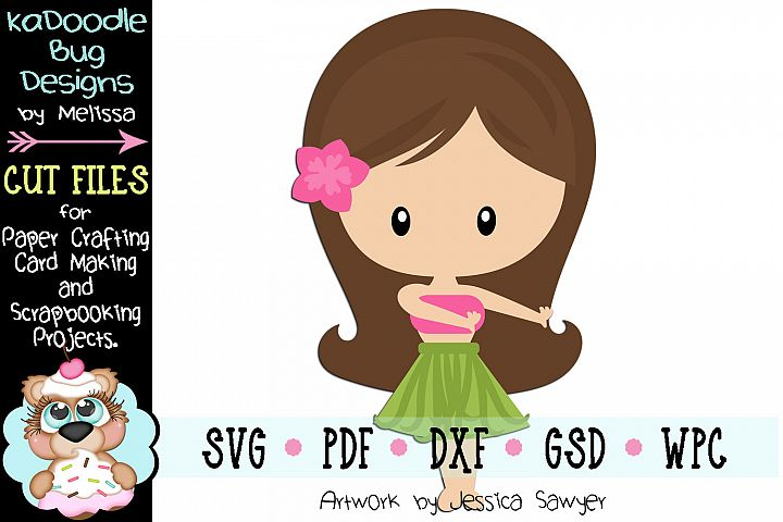 Hawaiian Luau Girl Cut File - SVG PDF DXF GSD WPC