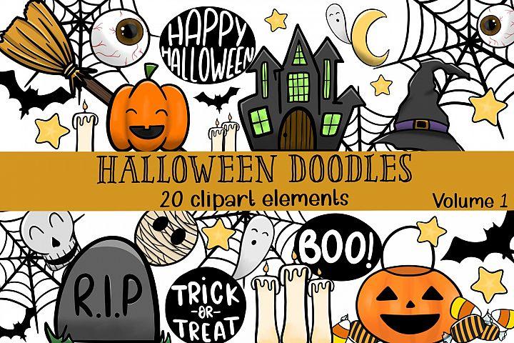 Halloween doodles clipart set