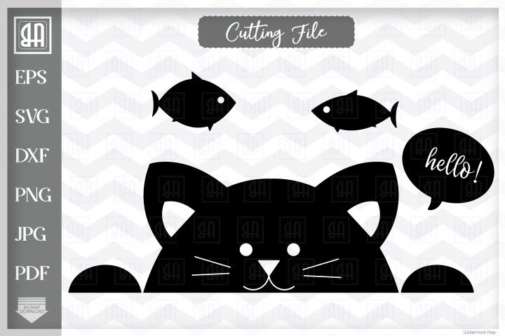 Cat SVG, Peeking cat SVG, Black Kitty SVG, Kitty face SVG