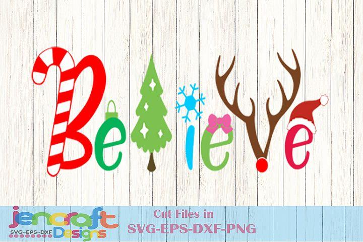 Believe Christmas SVG, Santa Hat, Reindeer, Christmas Tree