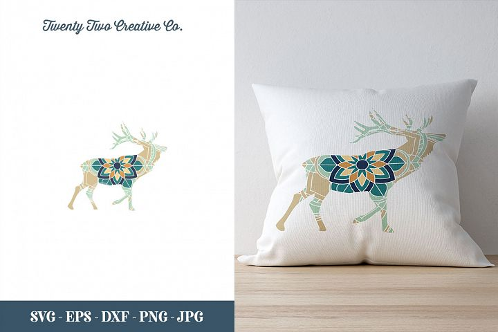 Deer Flower Zentangle Design - SVG, DXF, PNG, EPS, JPG