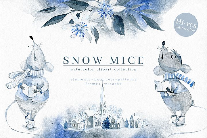 Snow Mice. Clipart set.