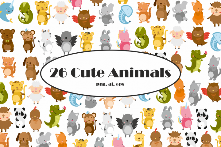 Cute Animals Vector Clipart
