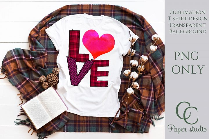 Love pink plaid watercolor heart sublimation tshirt design