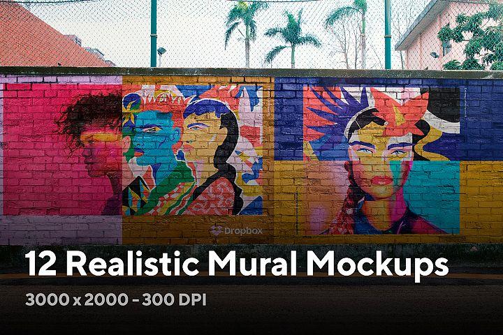 12 Realistic Mural Street Mockup - PSD