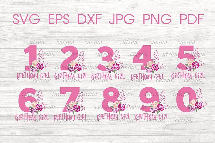 Birthday Girl SVG Bundle | Floral Numbers SVG bundle