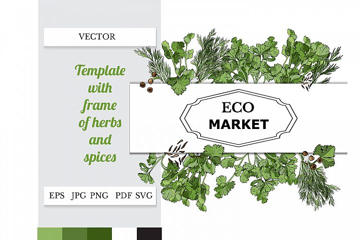 Template with frame of hand drawn sketch of herbs and spices