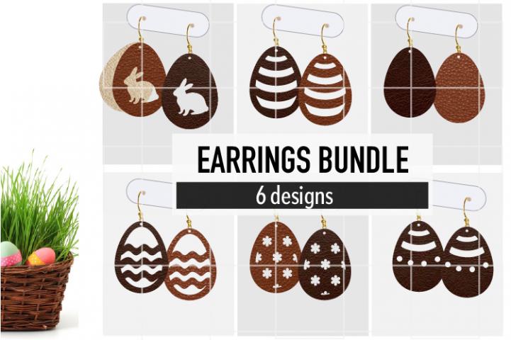 Easter Earrings Bundle Svg / Leather / Faux / Wood / Cut