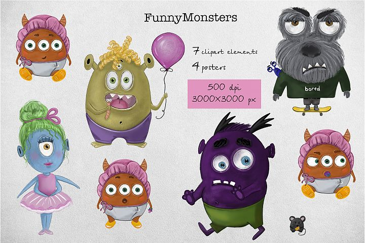 Cute and funny monsters in png on transparent background