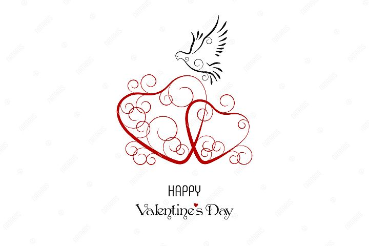 Happy Valentines Day greeting card. Two Hearts and Dove.