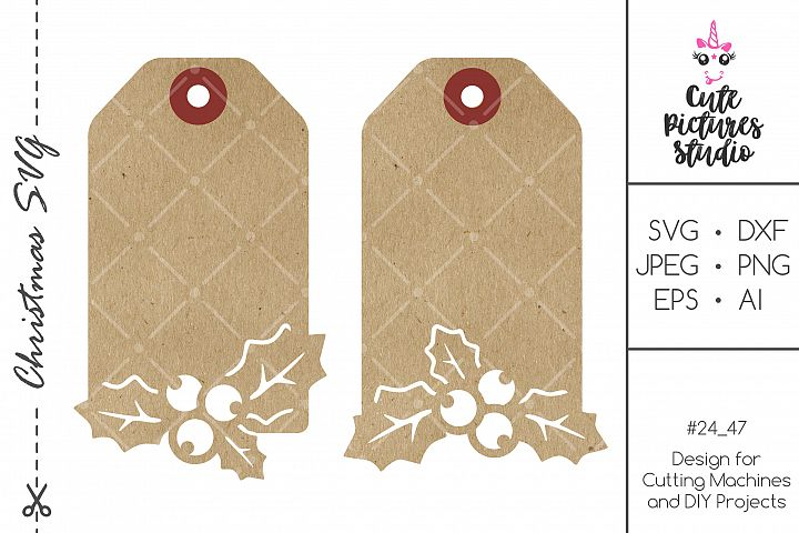 Christmas Holly Gift Tag SVG Bundle cut file for Silhouette