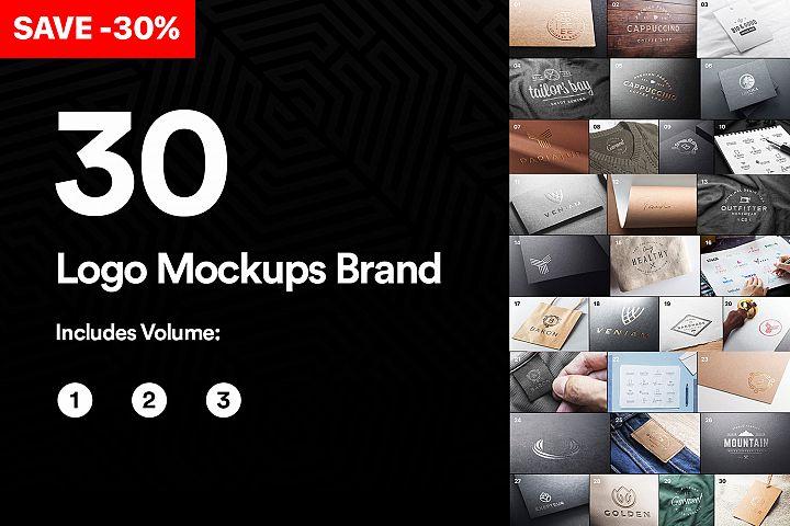 Bundle 30 Logo Mockups Brand - 2019 - PSD