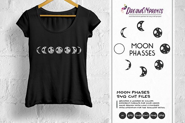 Moon Phases SVG - Full Moon SVG, Crescent Moon