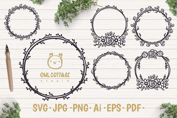 Floral Wreaths SVG, Floral Monograms mini SVG bundle