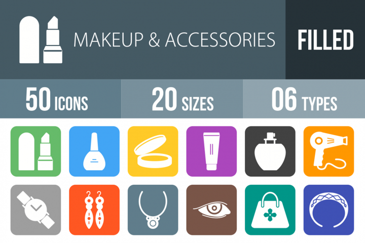 50 Makeup & Accessories Filled Round Corner Icons