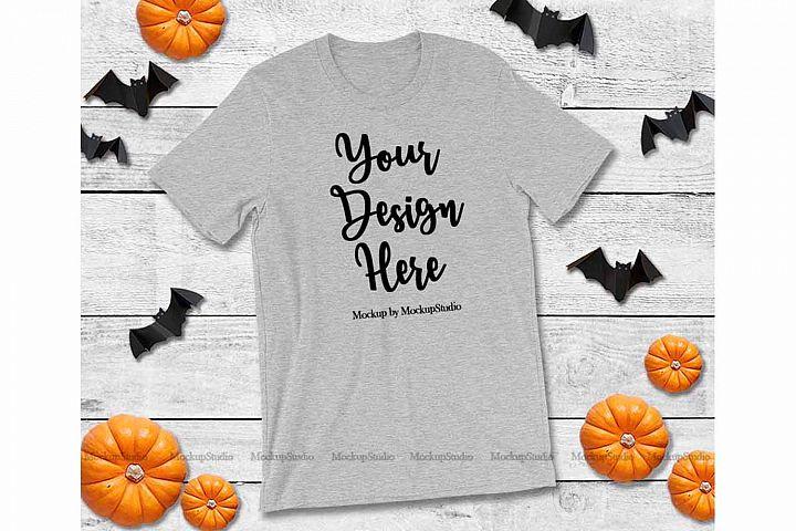Halloween Heather GrayT-Shirt Mock Up Fall Bella Canvas 3001
