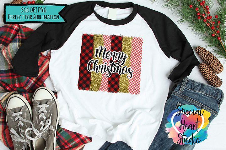 Christmas Sublimation - Merry Christmas - Buffalo Plaid