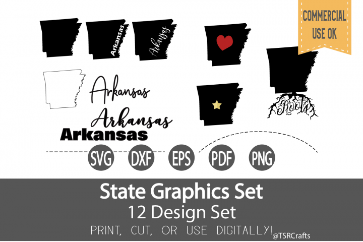 Arkansas State Graphics Set - Clip Art and Digital Cut files