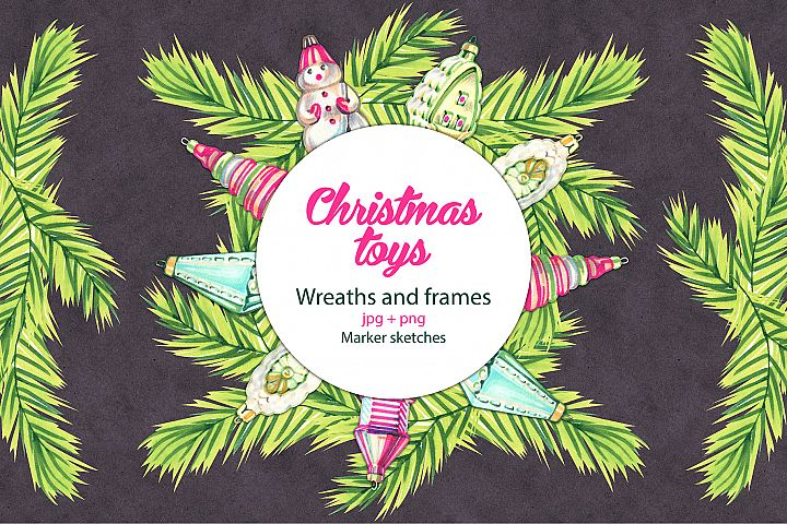 Christmas toys wreaths and frames