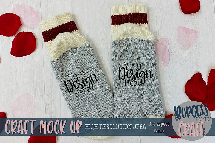 Valentine socks Craft mock up