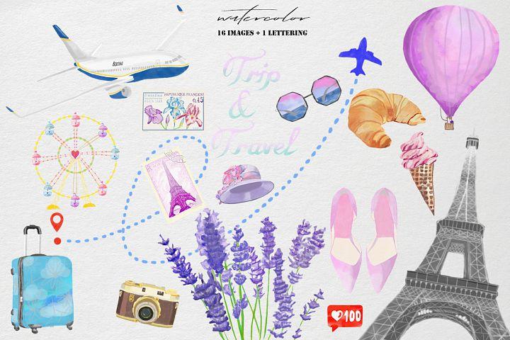 Trip & travel watercolor clip art set
