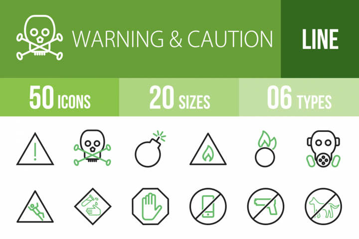50 Warning & Caution Line Green & Black Icons