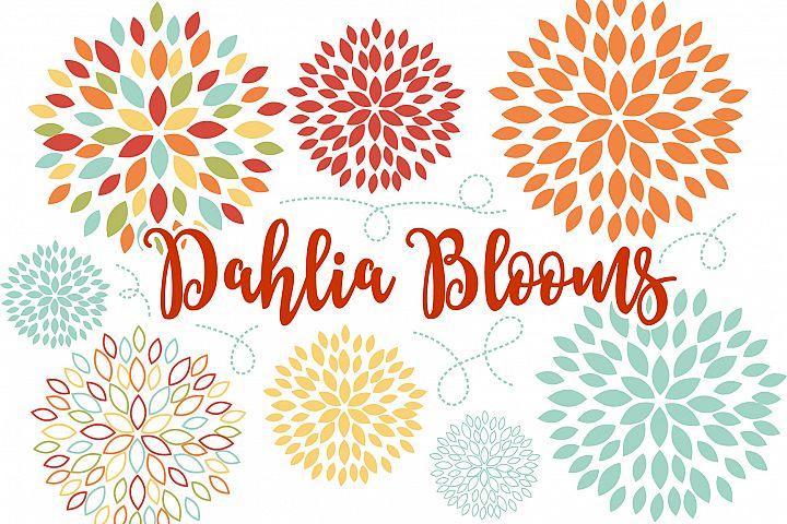 Dahlia Blooms Floral Vector Clip Art
