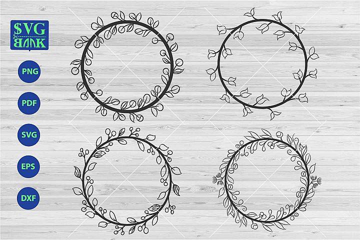 Wreath frame svg, monogram circle frame, laurel svg files